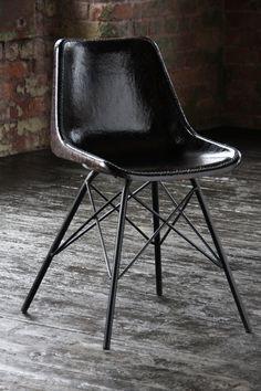 Industrial Eames Style  Chair on Cross Legs by Wheresaintsgo