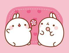 Molang is a good little bunny, he likes to share! Chibi Kawaii, Chibi Anime, Kawaii Bunny, Kawaii Drawings, Cute Drawings, Molang, Hamster, Kawaii Wallpaper, Cute Characters