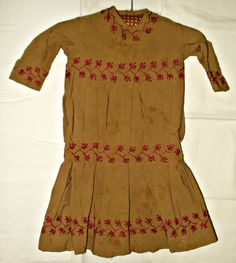 Children Victorian 1880s 1890s Cotton Hand Embroidery Dress - The Gatherings Antique Vintage