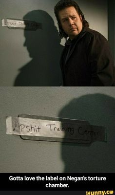 """Negan's """"Dipshit Training Center"""" taped on the door of the cell Sasha is in, as Eugene talks to her through the cell door. 
