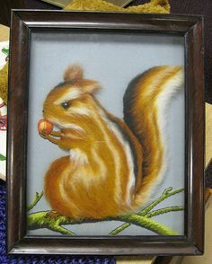It's a bit flat. Pretend it's still a squirrel. Squirrel, Thrifting, Flat, Wall Art, Store, Painting, Squirrels, Tent, Larger