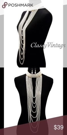 Luxurious choker with cascading pearls. Rows of pearls in a choker form with rows of pearls. This is 21 inches long boutique Jewelry Necklaces