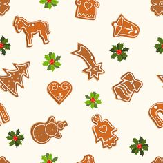 This free seamless holiday background is decorated with gingerbread cookies and holly.