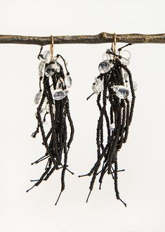 Turtle Forest Black 19th Century Black Glass and Labradorite Earrings