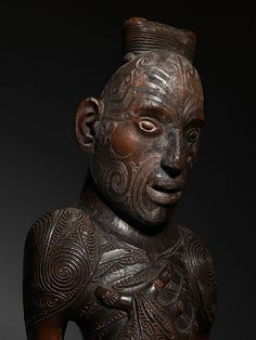 wooden carved polynesian figure from the new zealand maori