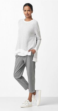 Free standard shipping on all Continental US orders. Shop women's casual clothing that effortlessly combines timeless, elegant lines with eco-friendly fabrics from EILEEN FISHER. Mode Outfits, Casual Outfits, Fashion Outfits, Womens Fashion, Fashion Trends, Fashion Ideas, Casual Wear, Ladies Fashion, Fashion Clothes
