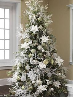 White And Silver Christmas Tree Design