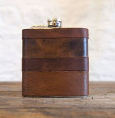 Initialled Leather Hip flasks - Recycled Leather Strips, Hand Engraved, Best Man, cowboy leather on Etsy, Sold