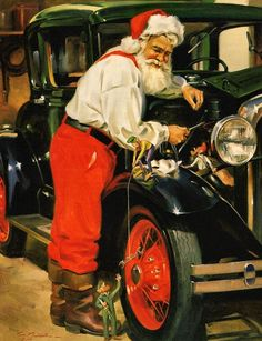 Tinker Toy by Tom Browning. Santa loves nothing more than working on antiques with his little buddies and this is his favorite classic car. This Santa Claus print uses the giclee printing process (f Vintage Christmas Cards, Retro Christmas, Vintage Holiday, Father Christmas, Santa Christmas, Xmas, Christmas Scenes, Christmas Pictures, Santa Pictures