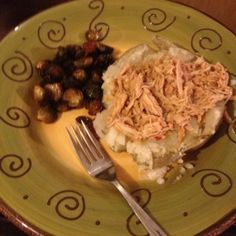 Small group dinner! Shredded chicken, baked potato, and brussel sprouts. Delish and easy for a crowd!