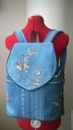 """Купить Джинсовый рюкзак """" Очарование"""" - голубой, рисунок, Машинная вышивка, джинсовый стиль, джинс"""