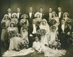 Italian, specifically a Sicilian Family Wedding 1927 NYC How this photograph still exists in this condition I have no idea. No photoshop used - you can see a few white specks, that's all. Vintage Wedding Photography, Vintage Wedding Photos, 1920s Wedding, Vintage Bridal, Wedding Pictures, Vintage Weddings, Wedding Ideas, 1920s Party, Vintage Italian Wedding