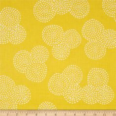 Michael Miller Stitch Floral Circle Mustard from @fabricdotcom  Designed for Michael Miller Fabric, this cotton print fabric is perfect for quilting, apparel and home décor accents. Colors include mustard and white.