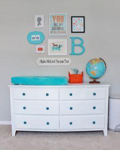 Delightfully Noted: Finally! Our Baby Boy's Aqua, Orange,  Grey Nursery Reveal
