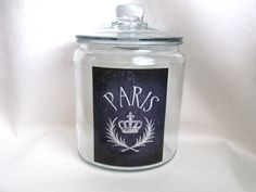 Paris Jar, French Decor, French Country Home, Cookie Jar