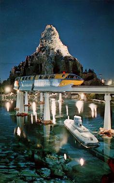 Postcard Matterhorn Mountain, Submarine, Monorail Tomorrowland Disneyland Tomorrowland, Disneyland Rides, Disney Rides, Disneyland California, Vintage Disneyland, Disney Parks, Walt Disney World, Disney Land, Disneyland 60th
