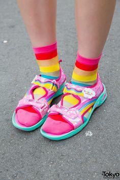 Pink Sandals & Rainbow Socks