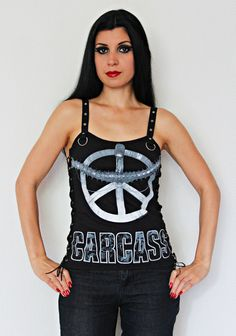 Carcass shirt heavy thrash metal tank lace up top alternative clothing apparel reconstructed rocker clothes altered band tee t-shirt
