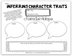 Classroom Freebies: Inferring Character Traits Freebie