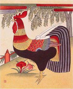 Minwha(Korean Folk art)-Rooster by kimsingu on DeviantArt Folk Art, Oriental Art, Tribal Art, Drawings, Korean Art, Traditional Paintings, Flower Illustration, Chinese Folk Art, Tribal Art Designs