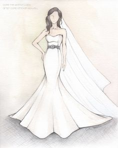Sometimes I have the pleasure of sketching a dress of someone I know. This was for my cousin. Congratulations Hannah & Trey!
