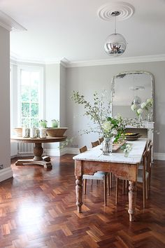 herringbone floor + white & wood table