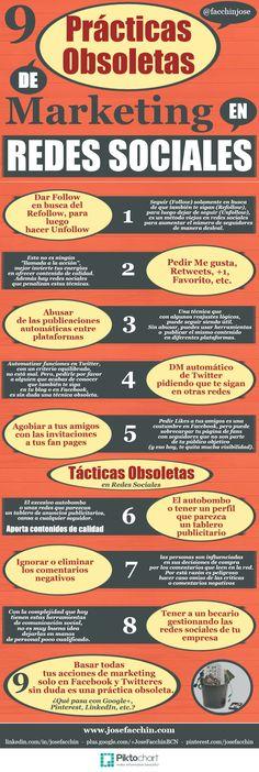 Prácticas obsoletas de marketing en redes sociales #SocialMedia #SMM #Infographic