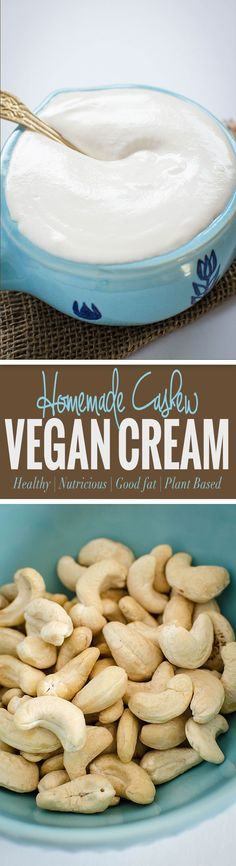 Homemade cashew cream recipe -- A perfect base for making different creamy soups, pasta, and curries. via @watchwhatueat