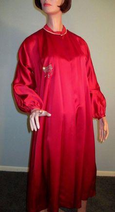 Vintage 1950s Tina Lesser Foreman Deep Crimson Red Satin Opera Formal Dress Coat #TinaLesserbyForeman