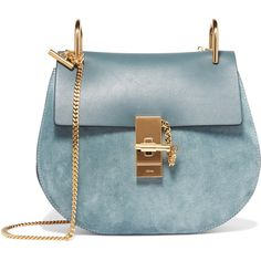 Chloé Drew small leather and suede shoulder bag (9.470 HRK) ❤ liked on Polyvore featuring bags, handbags, shoulder bags, blue, purses, sac, teal, blue leather handbags, leather man bags and blue leather purse