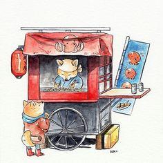 Takoyakis by Dliok on DeviantArt Japanese Watercolor, Japanese Art, Kawaii Drawings, Cute Drawings, Watercolor Illustration, Watercolor Art, Building Drawing, Building Illustration, House Drawing