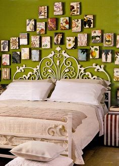 Bedroom Art Wall, I would do this with photos - LOVE it