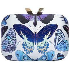 KOTUR Morley Butterfly Print Silk Satin Clutch ($706) ❤ liked on Polyvore featuring bags, handbags, clutches, chain handle handbags, butterfly purse, chain strap purse, kotur clutches and kotur handbags