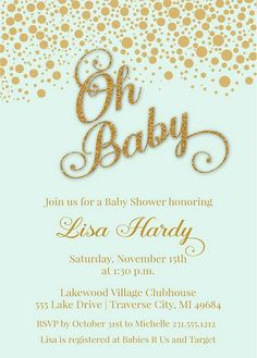 Mint and Gold Baby Shower Invitations  Boy by AnnounceItFavors