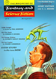 """""""Fantasy & Science Fiction - Two-Handed Engine"""" Glossy Vintage Sci-Fi Comic/Magazine Cover Art Print Science Fiction Magazines, Science Fiction Art, Pulp Fiction, Fiction Novels, Classic Sci Fi, Classic Comics, Diesel Punk, Pulp Magazine, Magazine Covers"""