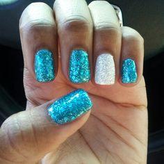 Gel nails #oceanblue #whitediamond