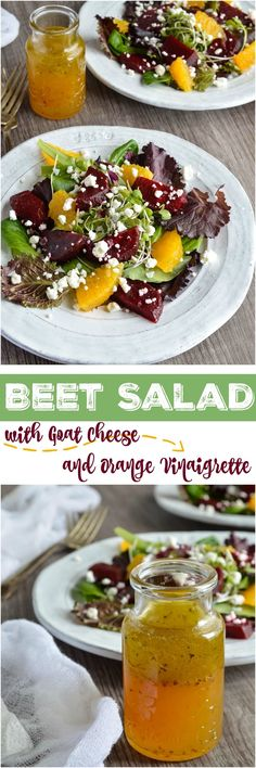 My new obsession is Beet Salad with Goat Cheese and Orange Vinaigrette Dressing. The bright orange dressing, creamy goat cheese crumbles and earthy beets were made for each other. The perfect blend of flavors! #healthy wonkywonderful.com