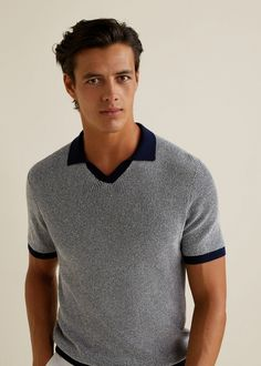 Textured cotton polo shirt - Details of the article 1 Polo Shirt Style, Polo Shirt Outfits, T Shirt Polo, Mens Polo T Shirts, Tee Shirt Homme, Mens Tees, Shirt Men, Polo Outfit, Mens Golf Fashion