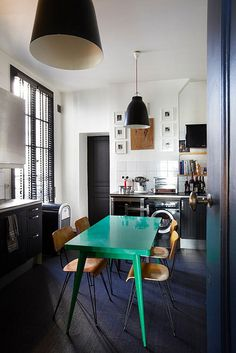 black + white + green table
