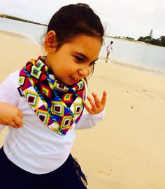 Nin wearing a XL Bandana Bib.  Especially made for our older kids.