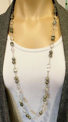 Labradorite Necklace Long Gemstone Necklace Long Beaded #longbeadednecklaceideas