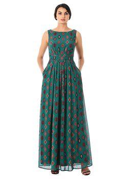 Ikat print georgette pleated maxi dress #eShakti