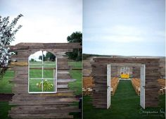 Need some inspiration to blow away the Tuesday blahs? As if the rolling hills in the background of this outdoor wedding space were not enough, this bride and groom pair was married in a unique and fascinating open air wooden chapel. The couple said their vows in the bride's parents' backyard, and it was the bride's brother who built the structure complete with pretty windows and doors and a striking yellow altar.