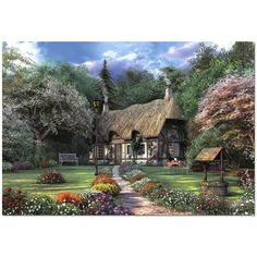 new Picture mosaic drill cross stitch scenery crystal square DIY diamond painting DIY Diamond embroidery Garden Cottage Puzzles, Bussiness Card, Rose Cottage, Garden Cottage, Business Credit Cards, 5d Diamond Painting, Cross Paintings, Diy Painting, New Pictures