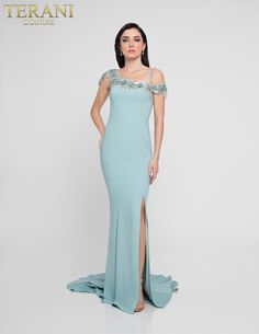 a2aa7cb6d96 Sinuous stretch crepe gown with asymmetric beaded flower neckline. Terani  Couture