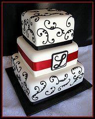 High School Graduation Cakes | Black & White Monogram Wedding Cake