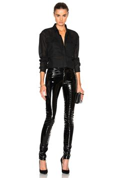 Image 5 of Anthony Vaccarello Slim Vinyl Pants in Black