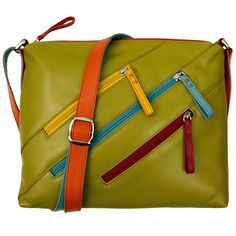 Leather Crossbody Bag with 3 Zippers - Citrus