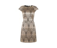 Oasis, WARNER JACQUARD SKATER DRESS Gold