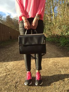 Chic and Cheap Outfit with Nike free running trainers  ~ pink and black. Inspirational outfit